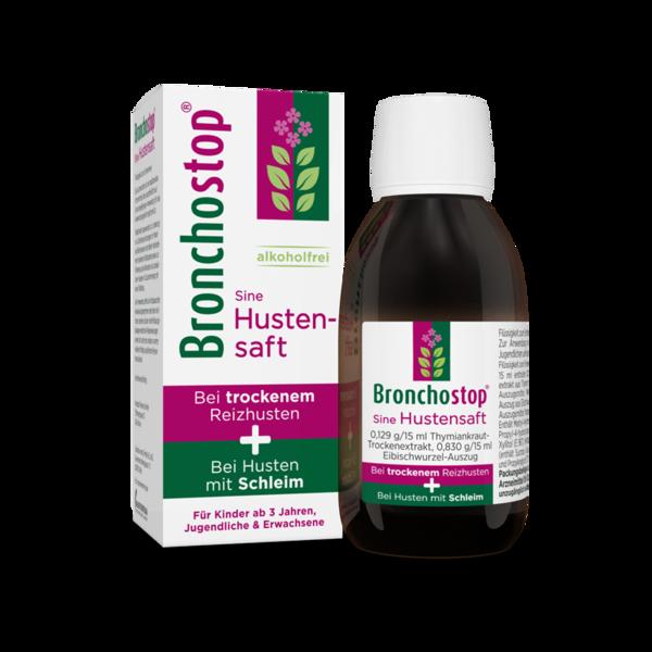 Bronchostop® Sine Hustensaft Produkt Flasche und Packung