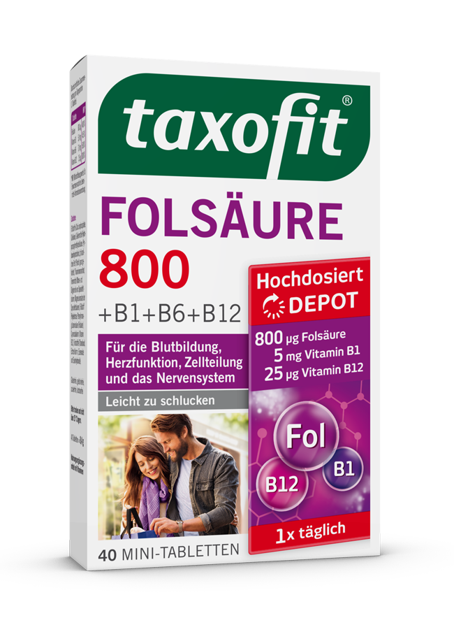 taxofit® Folsäure 800 +B1+B6+B12 Depot Mini-Tabletten